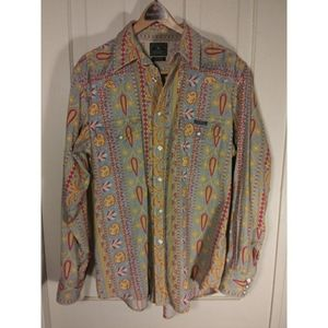Lucky Brand paisley corduroy shirt button down up